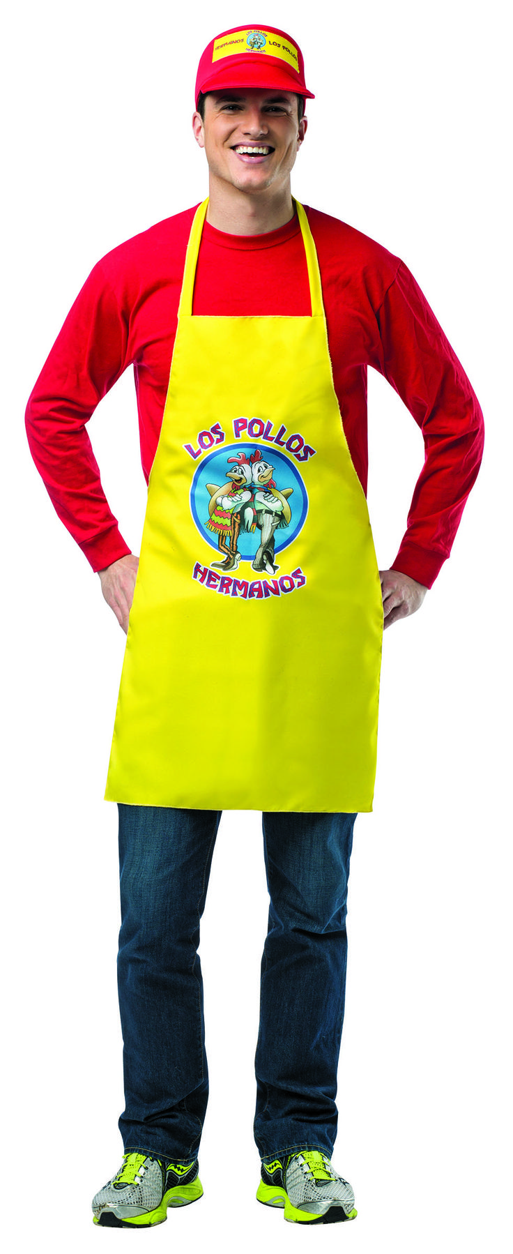 #4718 Breaking Bad Apron and Visor - Let's Cook! Don't forget your yellow Los Pollos Hermanos Apron from AMC's hit television series, Breaking Bad!   This officially licensed costume includes an apron and visor.  #breakingbad #halloween #apron #visor