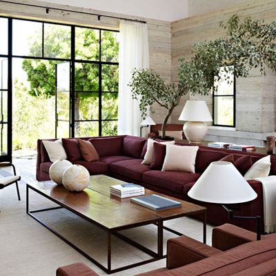 burgundy/oxblood couch in a contemporary setting ♡