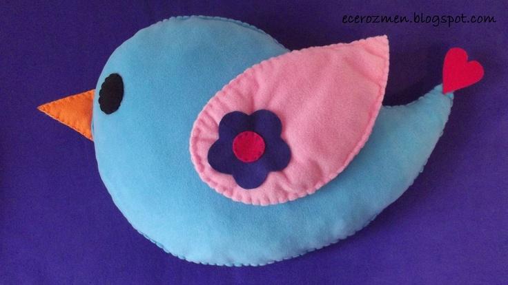 'mavi kuş' yastık