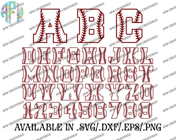 Digital Cut Files, Baseball Letters & Numbers, Softball, SVG, DXF, EPS, Sports, Varsity, Laces, Stitches, Vinyl, Silhouette, Cricut