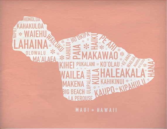 Maui Map Print by ajohnstondesign on Etsy, $25.00