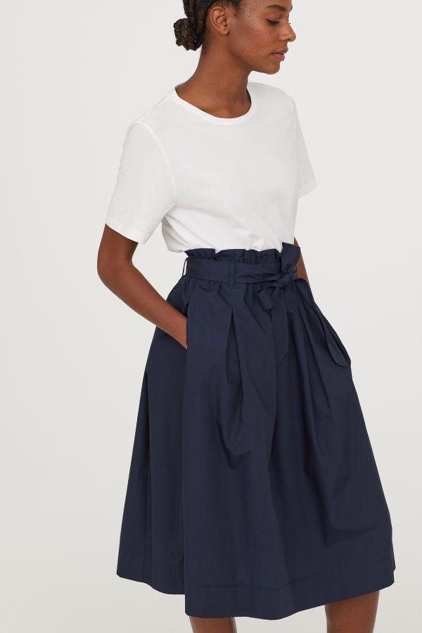 4d18518d74 Calf-length Skirt | Dark blue | WOMEN | H&M US | Wardrobe Essentials ...
