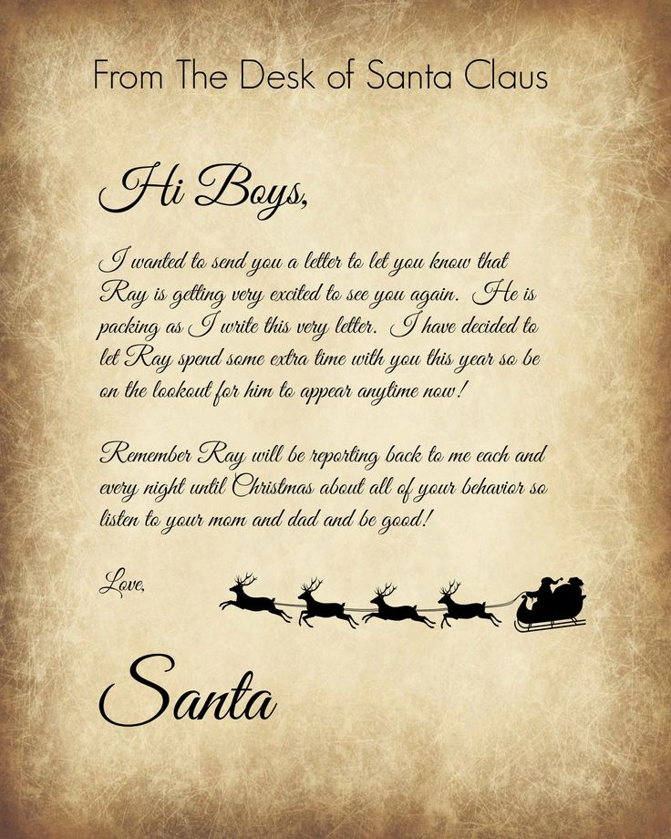 Elf on the Shelf welcome back letter for Granite, Logan, and Jax from Santa