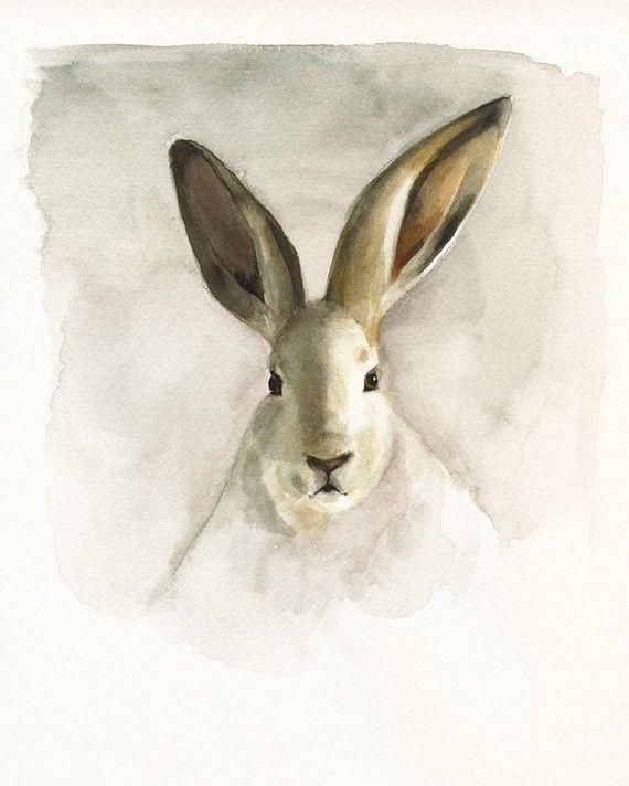 cottage decor-Rabbit Watercolor-nature-neutrals by amberalexander