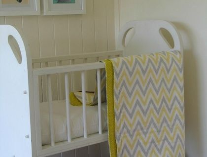 Organic Baby's Blanket (Chevron in Soft Yellow and Grey) by Empire Eco Designs