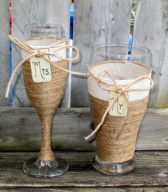 Rustic Wedding / Toasting Glasses / Rustic by CarolesWeddingWhimsy, Set of 2, Rustic Wedding Toasting Champagne Glass and Matching Beer Pilsner - Check them out here  https://www.etsy.com/listing/191853399/rustic-wedding-toasting-glasses-rustic