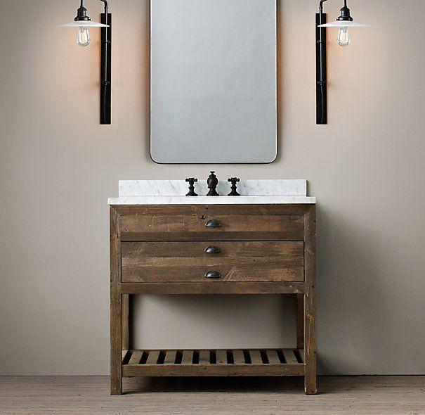 Printmaker 39 s single vanity sink restoration hardware for Restoration hardware vanities bath