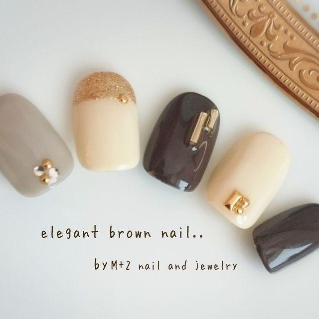 再3*大人classic brown nail*ネイルチップ