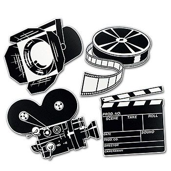 Use our cardboard film reel, movie camera, clapboard and other Hollywood cutouts to create a star-studded scene.