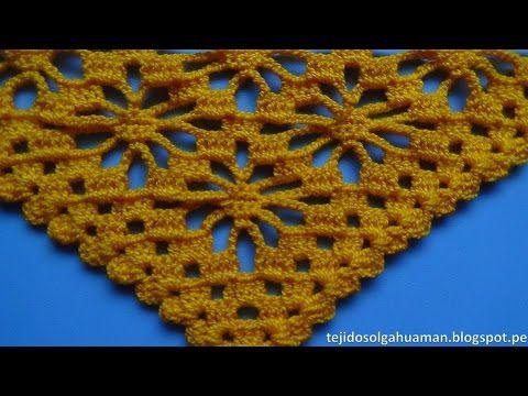 Chal a crochet # 2 tejido en punto pavo real a crochet o ganchillo paso a paso - CHAL crocheting - YouTube