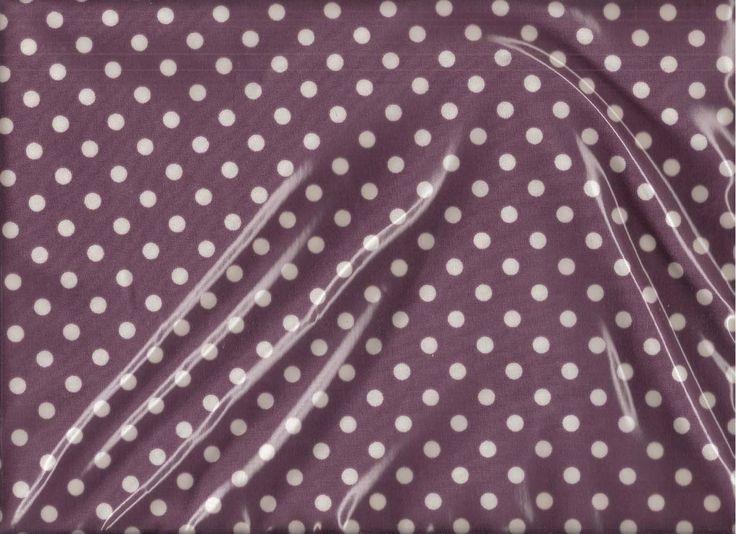 Toile Cirée brillante ā pois moyens blancs fond violet foncé : Tissus Habillement, Déco par prettyprints