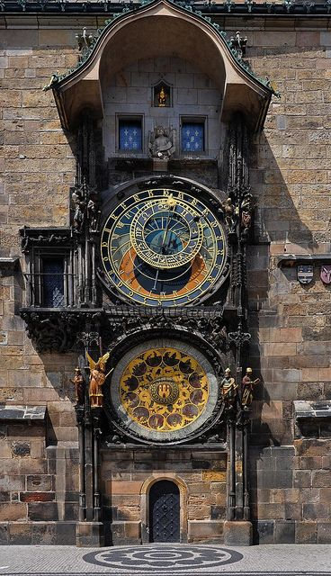 Prague Astronomical Clock (Orloj). Whenever we tried to take a picture, some tall guy would walk in front of us. The chiming of the clock draws a crowd at all times of the day and night!