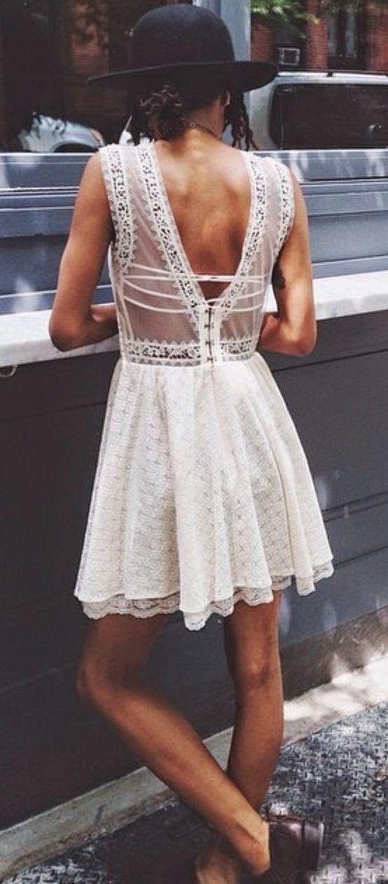 White Deep Back Lace Dress