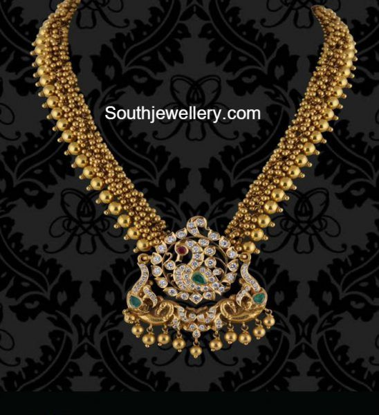Antique Gold Necklace with Diamond Peacock pendant photo
