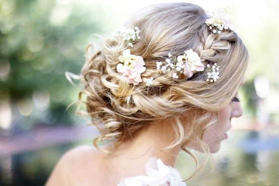 Wedding Hairstyles 2014: Soft Twists & Tousled Curls with Flowers ...
