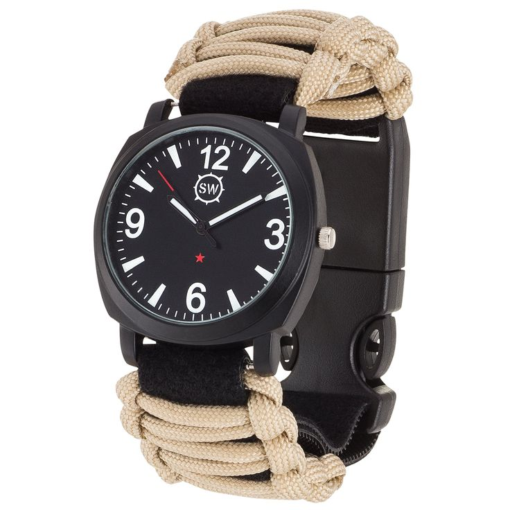 Survival Watch V3 | Ultimate Emergency Survival Gear | Features Military Grade Paracord, Compass, Whistle, & Fire Starter | Water Resistant | Adjustable Paracord Band | 4 Colors (Tan)