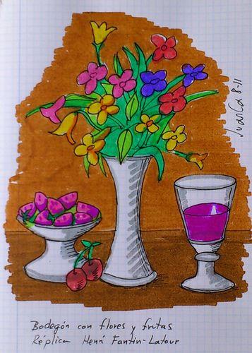 Bodegón con flores y frutas