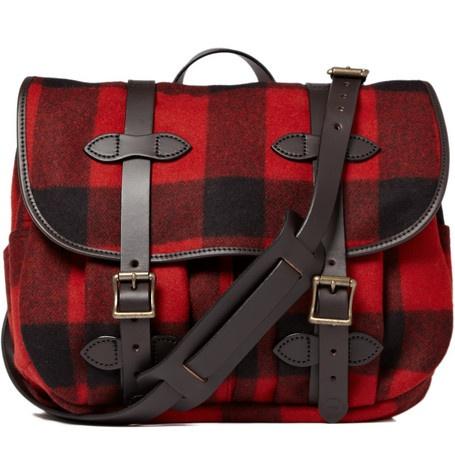 Filson - plaid wool field messenger bag