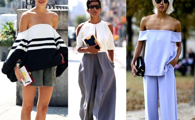 Bluzki z odkrytymi ramionami, sukienki z odkrytymi ramionami, dekolt carmen, bardot, trendy