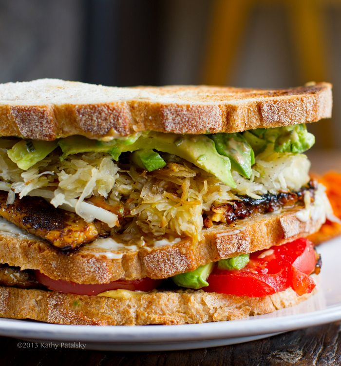 Tempeh Reuben Club Sandwich