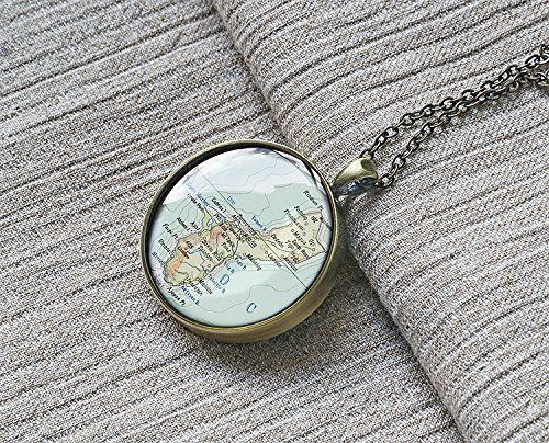 1961 Guam Island map necklace, antique map pendant charm jewelry present for her birthday unique stainless steel meaningful gift ide - MP 1190
