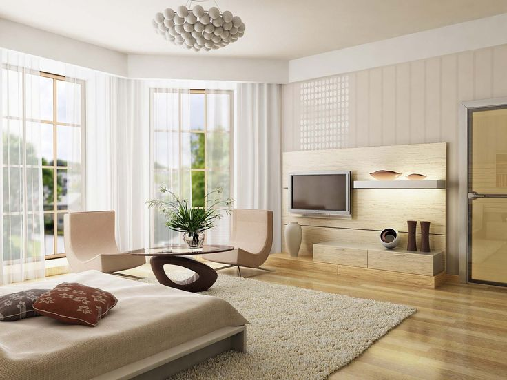 Contemporary bedroom with MDF wall panel