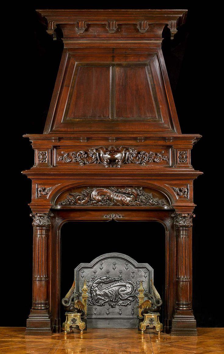 Большой антикварный стиль французского Ренессанса трюмо камин объемного
