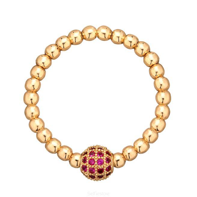 Pierścionek elastyczny / złocone oczko cyrkonionwe / GF 2mm - Selfie Jewellery - Sklep Internetowy