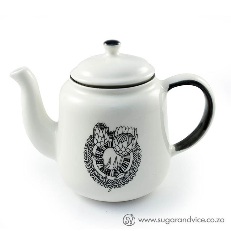 Teapot - Protea Dreams #black #ceramics #gift #home-decor #online-shop #protea #south-africa #tea-pot #white