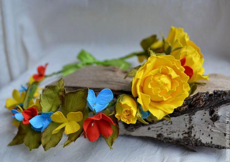 Купить Веночек..Летнее настроение. - желтый, венок из цветов, украшение для волос, летнее украшение
