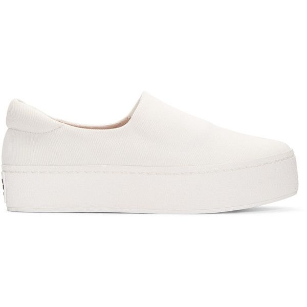 Opening Ceremony Ivory Cici Slip-On Sneakers (920 MYR) ❤ liked on Polyvore featuring shoes, sneakers, ivory, slip on trainers, round toe shoes, opening ceremony, round toe sneakers and opening ceremony shoes