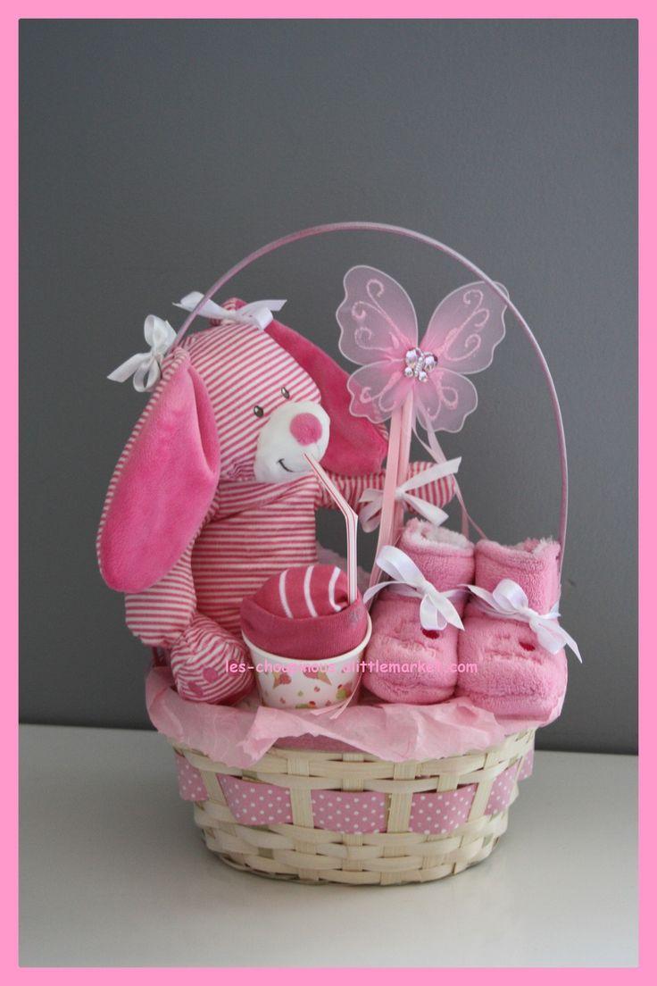 Cadeau original naissance baptême gâteau de couches rose fille : Décoration pour enfants par les-choupinous
