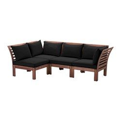 ÄPPLARÖ / HÅLLÖ 4-seat sectional, outdoor, brown stained, black - brown stained/black - IKEA