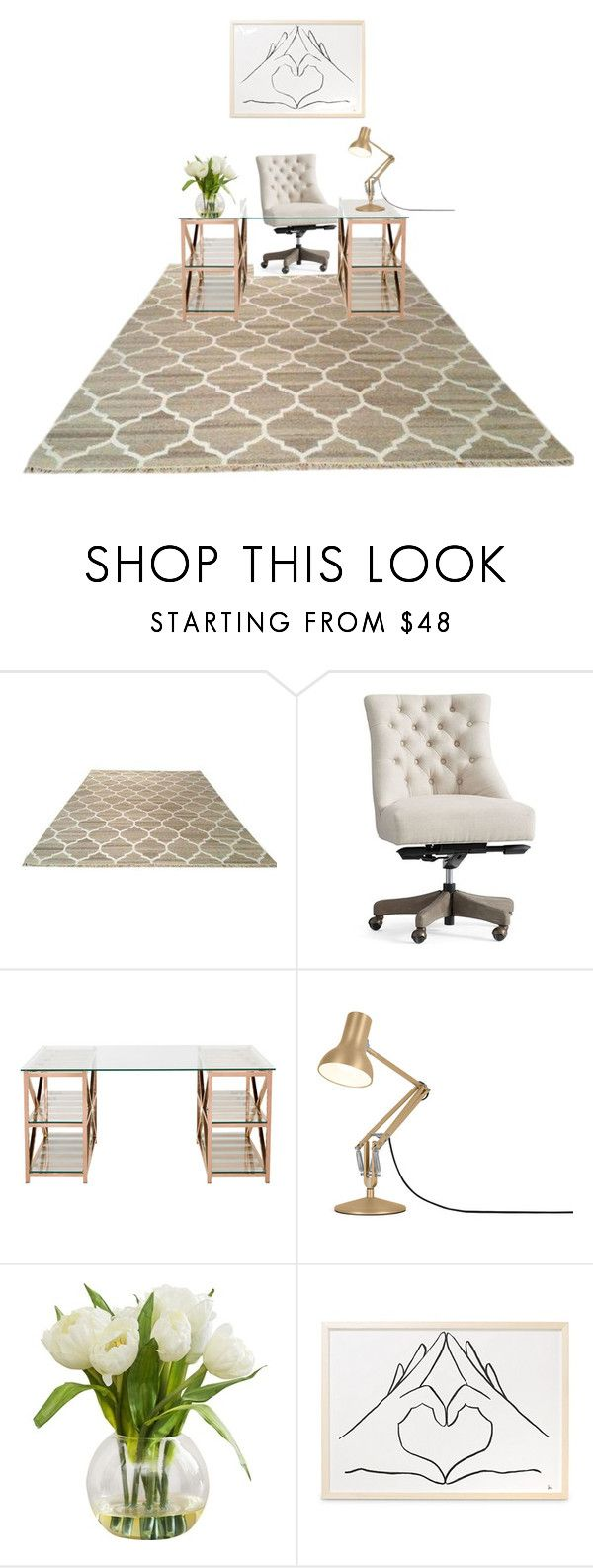 """Dream desk"" by pipermiller ❤ liked on Polyvore featuring interior, interiors, interior design, home, home decor, interior decorating, Pottery Barn, Safavieh and Anglepoise"