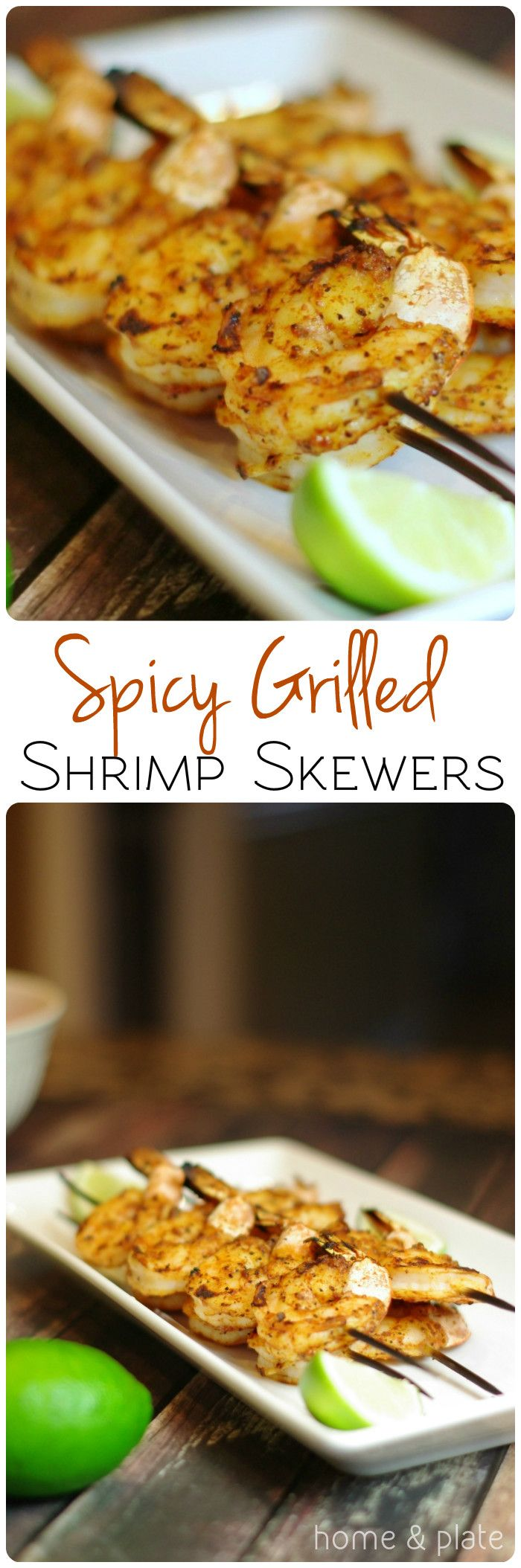 Spicy Grilled Shrimp Skewers | Home & Plate | www.homeandplate.com | Toss peeled and deveined raw shrimp with my basic barbecue rub and thread them on skewers before placing them on the grill.