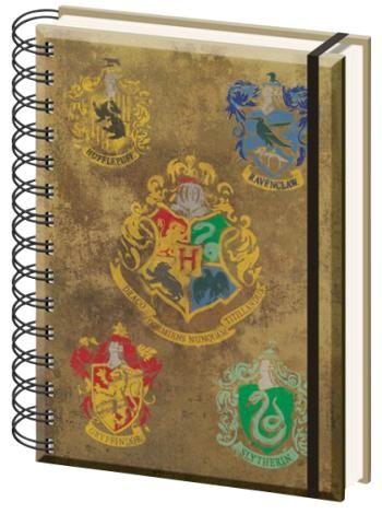 """Quaderno con spirale """"Crests"""" di #HarryPotter, formato A5, 90 pagine a righe."""