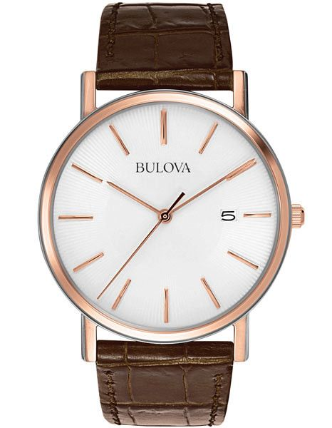 Bulova Mens Rose Gold & Brown Leather Mens Watch - White Dial - Date