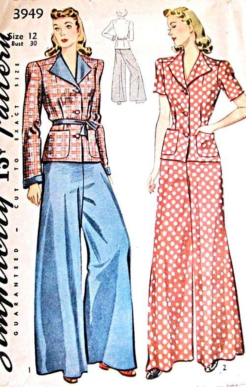 1940 Stijlvolle wijde pijpen Pajamas Beach Loungen Pant Suit Patroon Eenvoud 3949 Draag Pantsuit of loungen Avond pyjama Bust 30 Uitstekende Naaiende Patroon