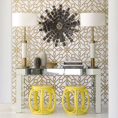 Palm Springs ModernDecor, Consoles Tables, Colors, Interiors Design, Wallpapers, Palms Spring, Yellow, Gardens Stools, Entryway