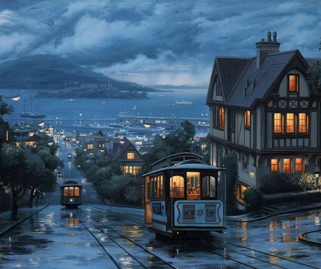 Powell - Hyde Cable Car Line , San FranciscoSan Francisco California, Cities, Sanfrancisco, Beautiful Places, North Beach, Travel, Thomas Kinkade, Northbeach, United States