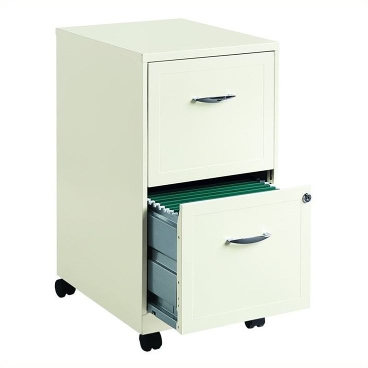 2 Drawer Steel File Cabinet In White