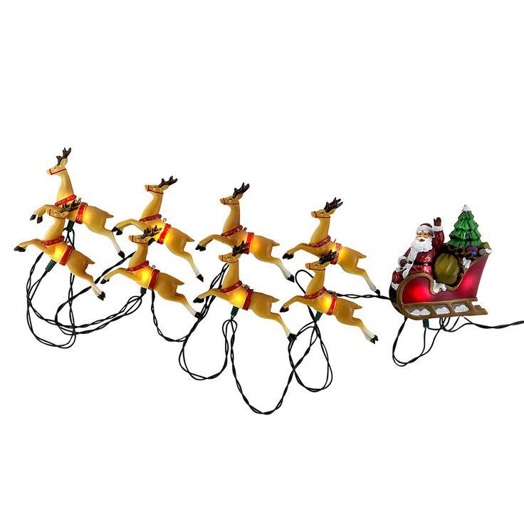 Santa's Little Helper Collection UL 10-Light Santa Sleigh and Eight Reindeer Light Set