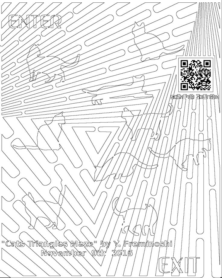 Cats Coloring Maze For Triangles and Adults