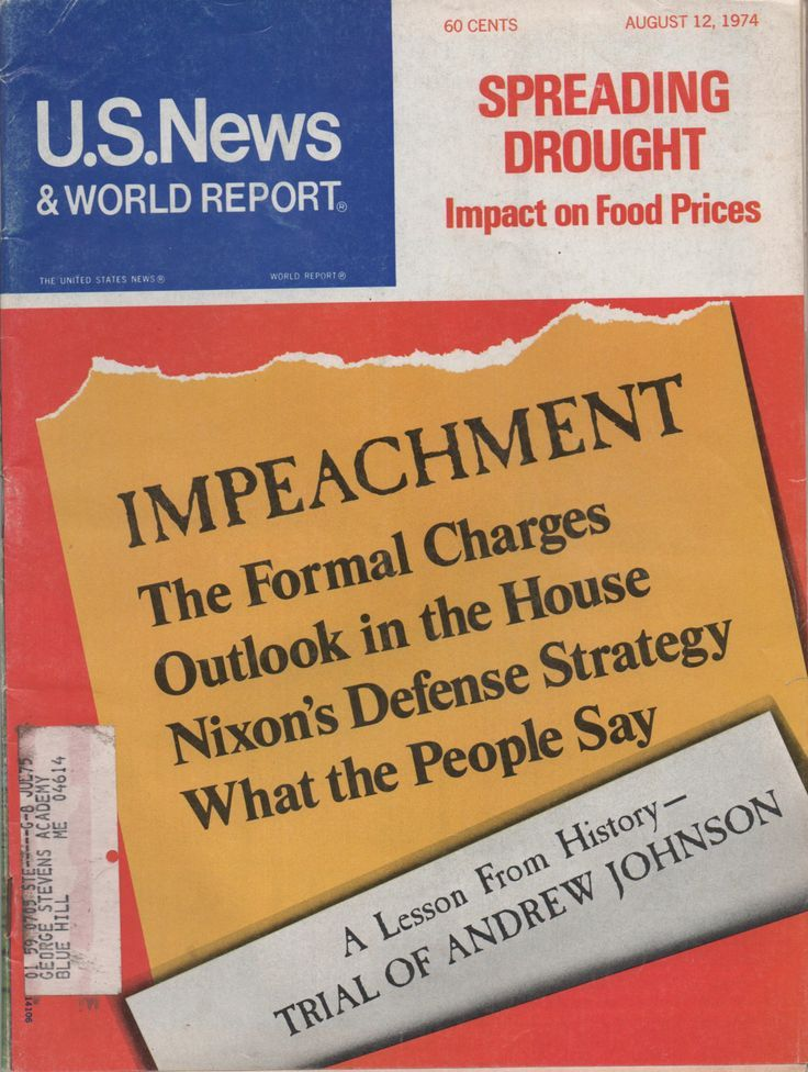 U.S. News & World Report, August 12, 1974, Impeachment, Nixon, good shape, illustrated, 92 pages by VintageNEJunk on Etsy