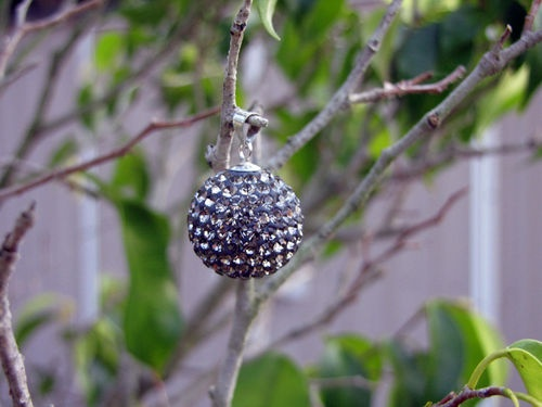 Sterling Silver Large Grey Swarovski Crystal Ball 17mm $35.00 available at Sweet Sweet Silver.