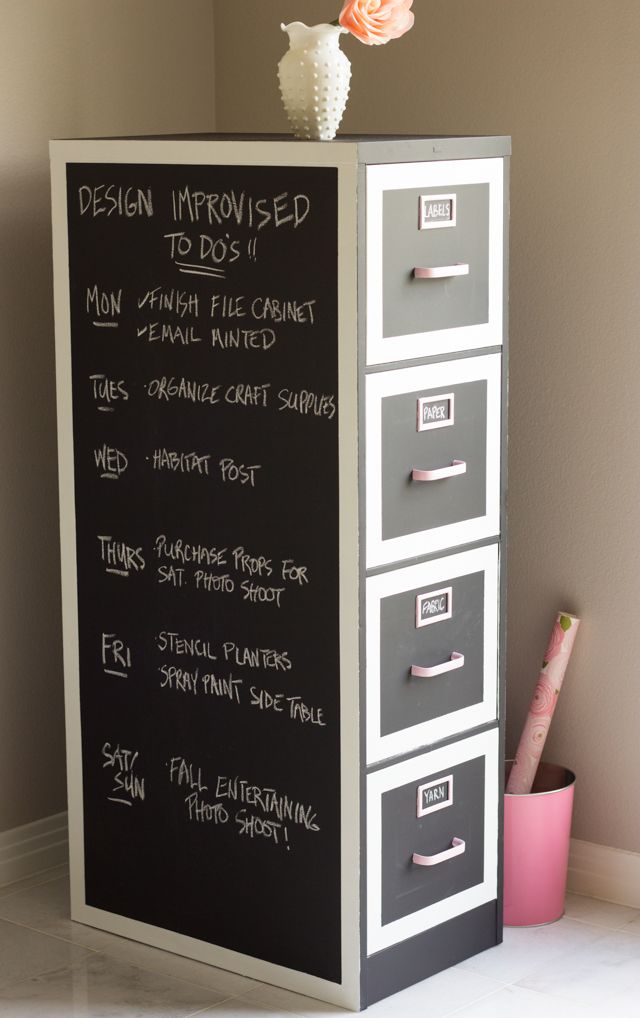Chalkboard Painted Filing Cabinet... Never seen this before but I have a pair in my classroom that I hate, and there's nothing important in there. Interesting!