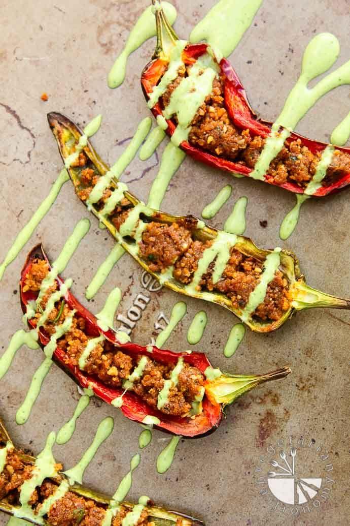 Stuffed Anaheim Peppers with Creamy Cilantro Tahini Sauce (v,gf) - Vegetarian Gastronomy