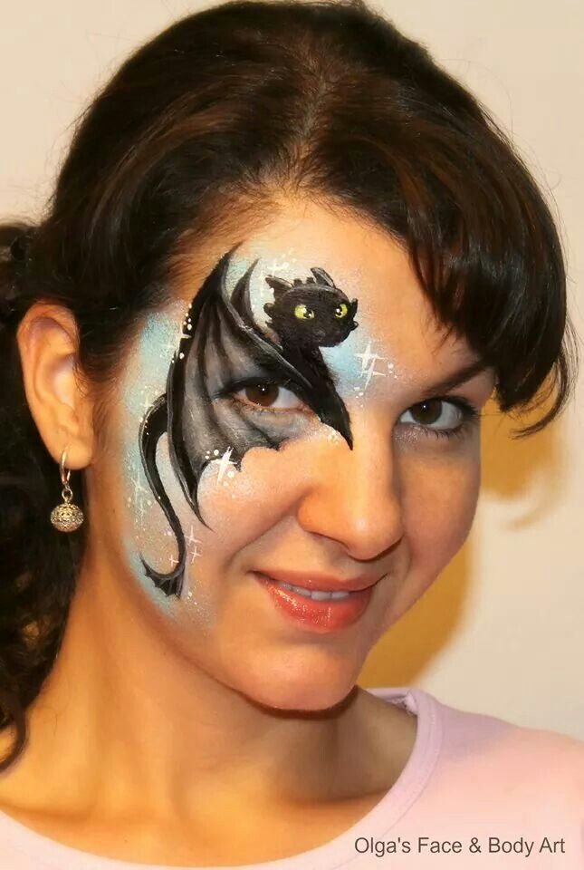 Dragon toothless face painting design idea by Olga Meleca. Possible to do in 5 minutes???
