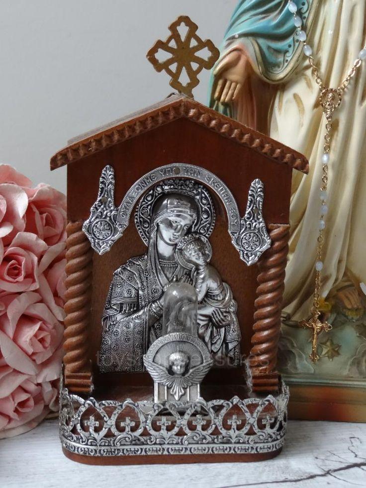 Vintage Angel Mary AND Jesus Wall Table Shrine Lamp Light Wood AND Metal | eBay