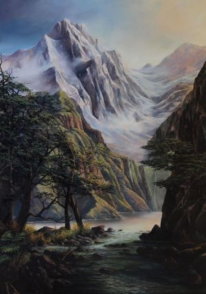Craig S. Primrose QSM, 'Approaching the Waterfall - Southern Alps' (2013) Oil on linen, 1400 x 1000 mm, POA at the Remuera Gallery